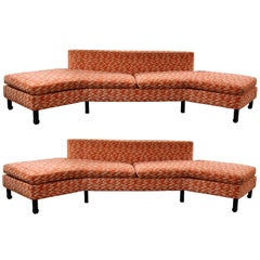 Mid-Century Modern Pair of Rare Curved Sofas Sectional Dunbar Baker Style Asian