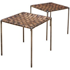 Pair of Vintage Iron Rod and Braided Leather Tables Props Stools Ottomans