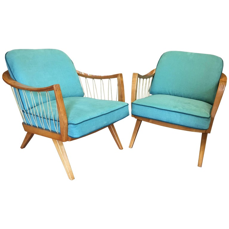 Stunning Pair Of Cherry Framed Midcentury Lounge Chairs At