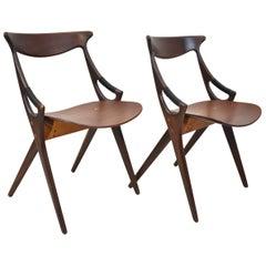 Pair of Mid-Century Modern Danish Teak Chairs by Arne Hovmand Olsen Model 71