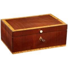 Swedish Karl Johan Fruitwood Inlaid Mahogany Box, Early 19th Century