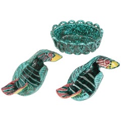 1950s Italian Ceramic Parrots and Bowl