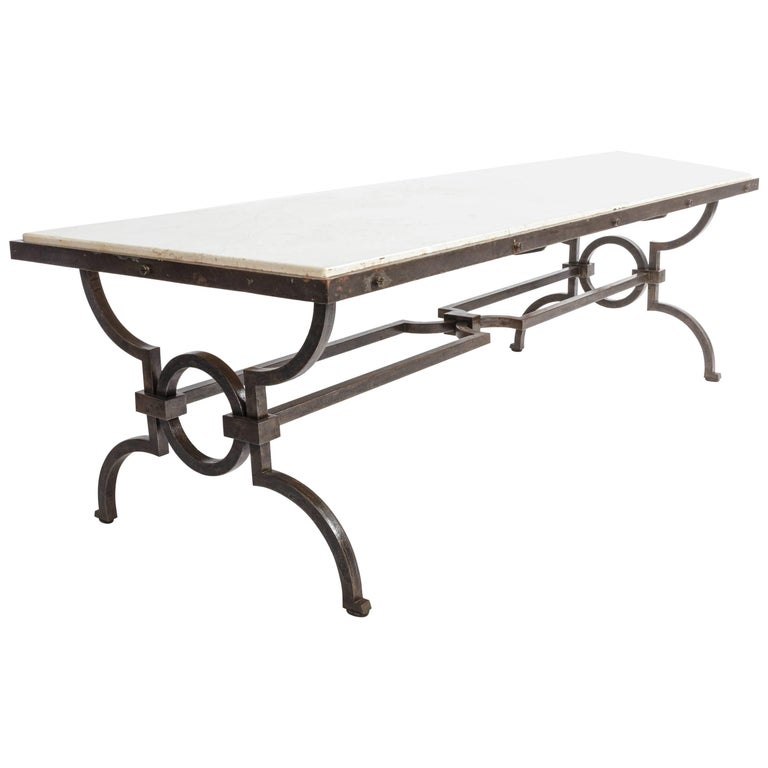 Black Patinated and Gilded Wrought Iron Coffee Table by Gilbert Poillerat For Sale
