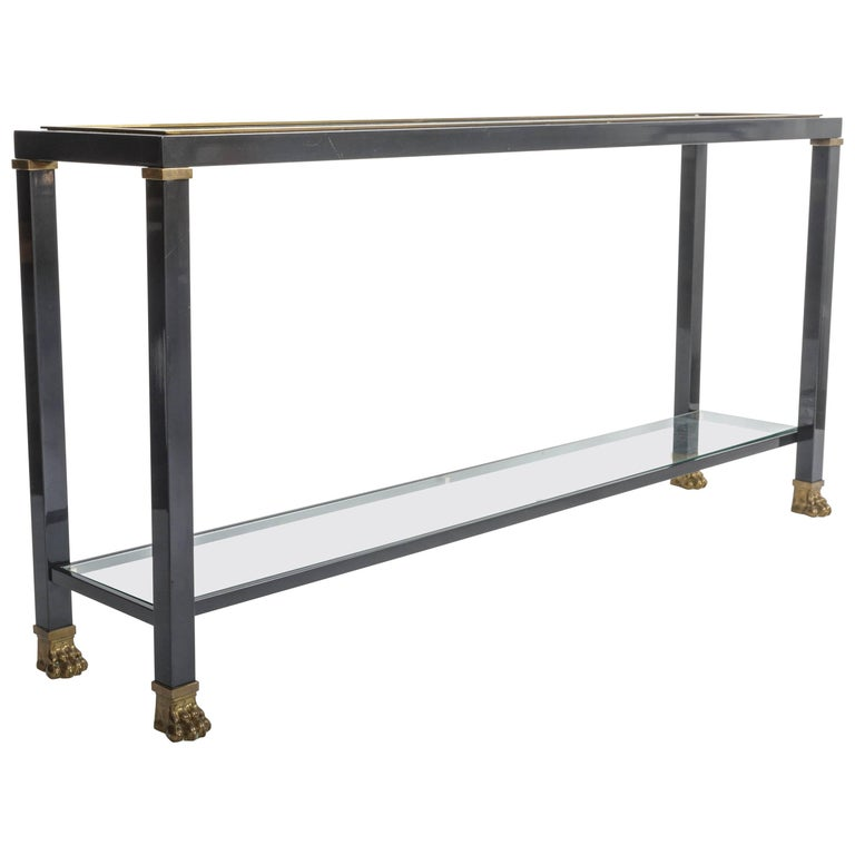 Two-Tiered Console with Patinated Metal and Glass Tops For Sale
