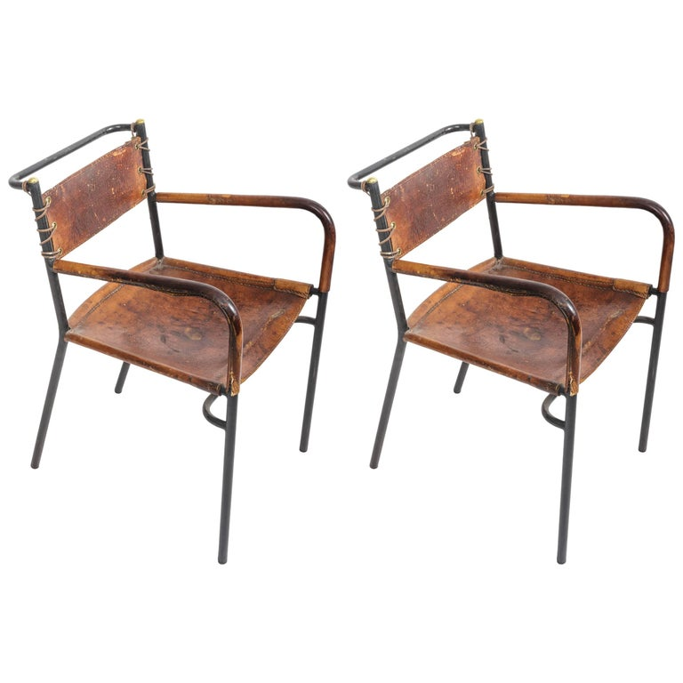 Pair of Leather and Metal Armchairs in the Style of Adnet