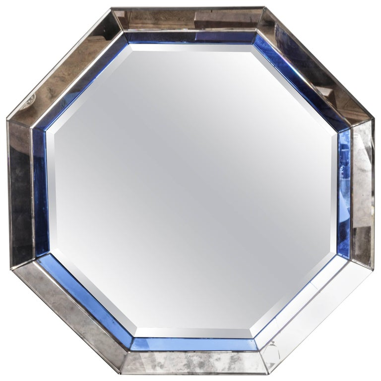 Octagonal Mirror with Blue and Antiqued Silver Frame 1