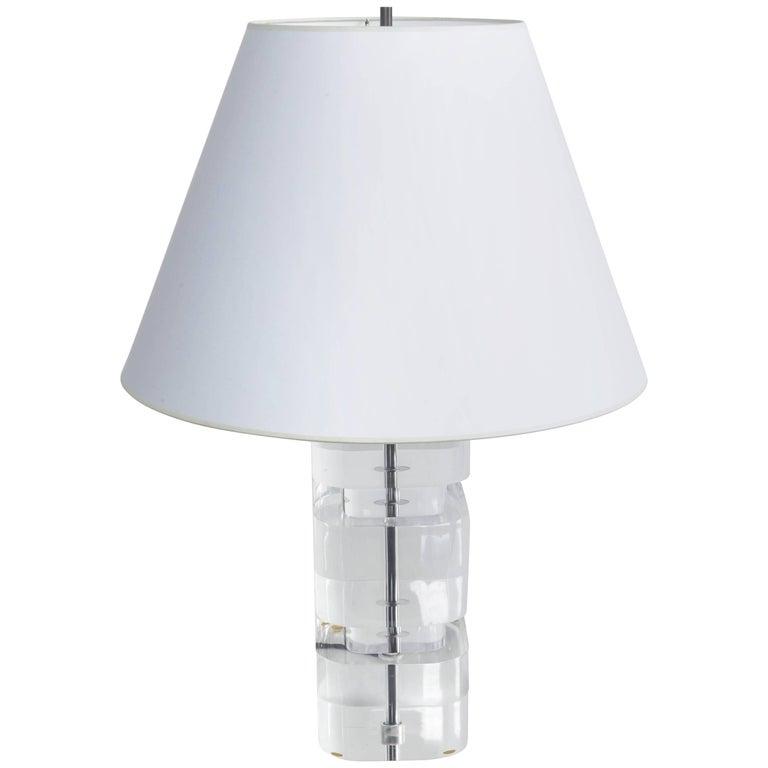 Liquid Lucite Column Table Lamp For Sale