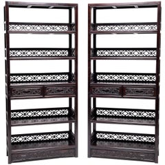 Pair of Fine Chinese Scholar's Scroll Shelves