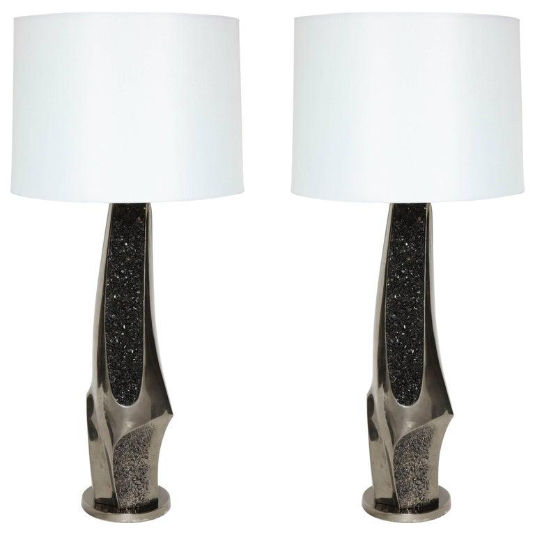 Laurel Black Quartz and Gunmetal Sculptural Lamps For Sale