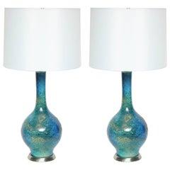 Midcentury Blue/Green Etruscan Glazed Lamps