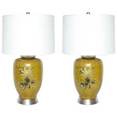 Marbro Ochre Glazed Porcelain Lamps