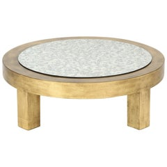 James Mont Gold Leaf Coffee Table, Signed