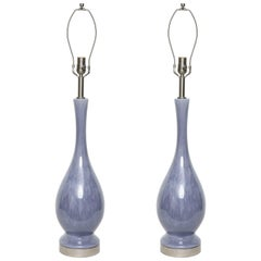 Midcentury Lilac Glazed Lamps