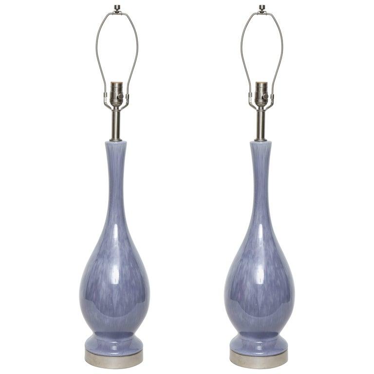 Midcentury Lilac Glazed Lamps