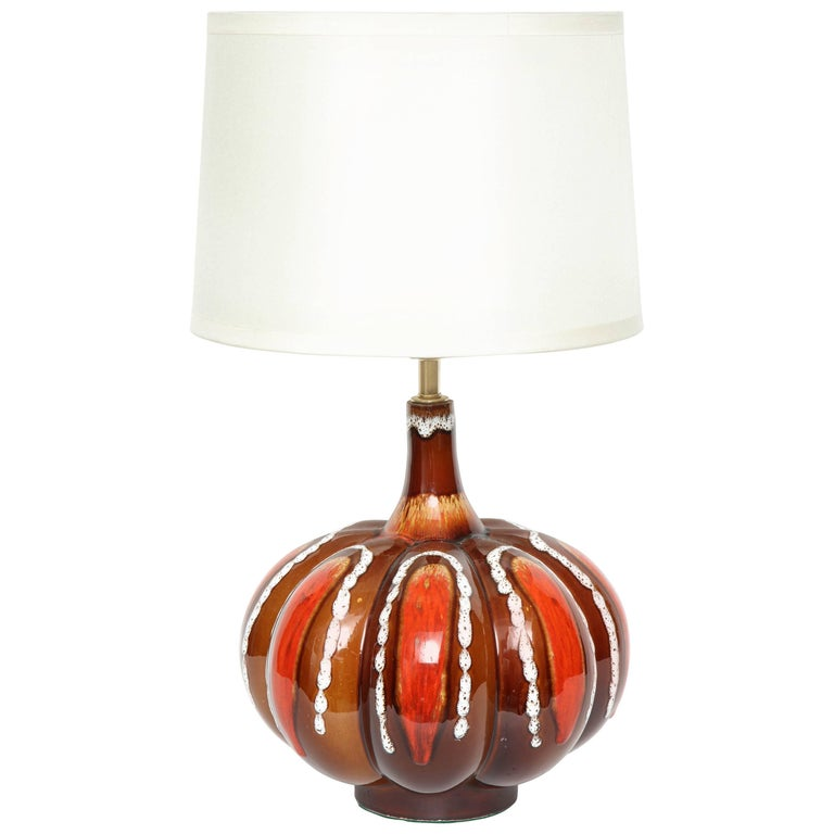 Vibrant Glazed West German Gored Ceramic Lamp
