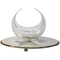 Art Deco Glass Centre Bowl on Reverse Cut Mirror Plateau