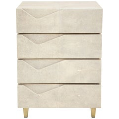 Shagreen Side Table/ Nightstand with Bronze Legs, Offered by Area ID