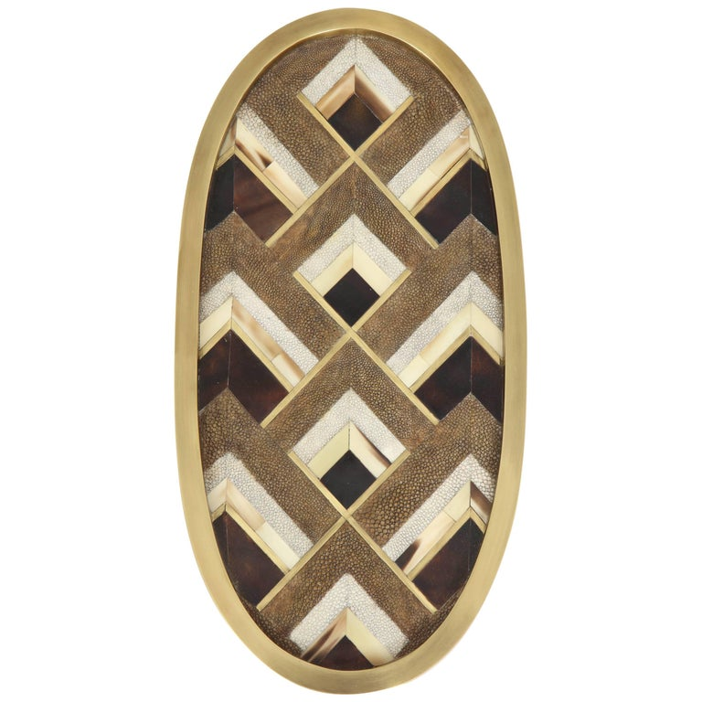 Shagreen Tray, Made of Palm Wood and Bronze Details