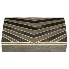 Box, Shagreen, Black Seashell and Bronze, Offered by Area ID