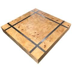 Modern Milo Baughman Burl Wood Square Coffee Table with Chrome Inlay