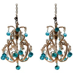 Pair of Vintage Petite Blue Beaded Murano Glass Chandeliers
