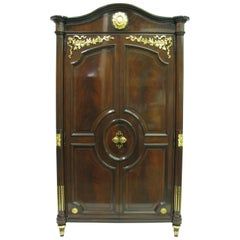 Karges Mahogany Louis XVI Style Armoire with Carved and Gilded Details