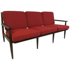 Danish Style American Walnut Sofa with Knoll Fabric