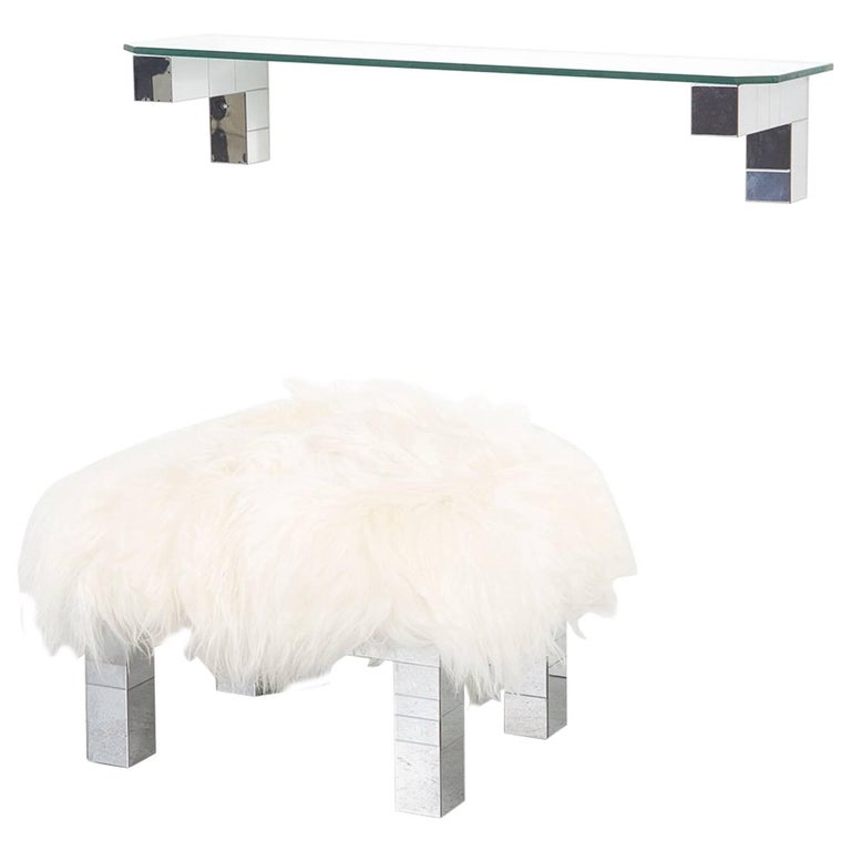 Paul Evans Floating Cityscape Shelf and Mongolian Sheepskin Stool