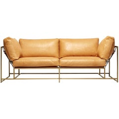 Natural Leather and Antique Brass Two Seat Sofa