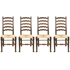 Antique Set of Four 'Wavy Line' Ladder Back Dining Chairs, Edwardian, circa 1910