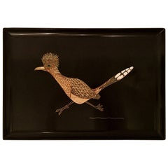 """Vintage Inlay Shell Lacquer Serving Tray, """"Road Runner"""" by Couroc"""