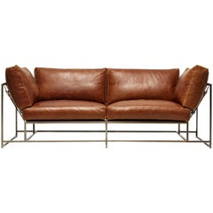 Tan Leather and Antique Nickel Two Seat Sofa