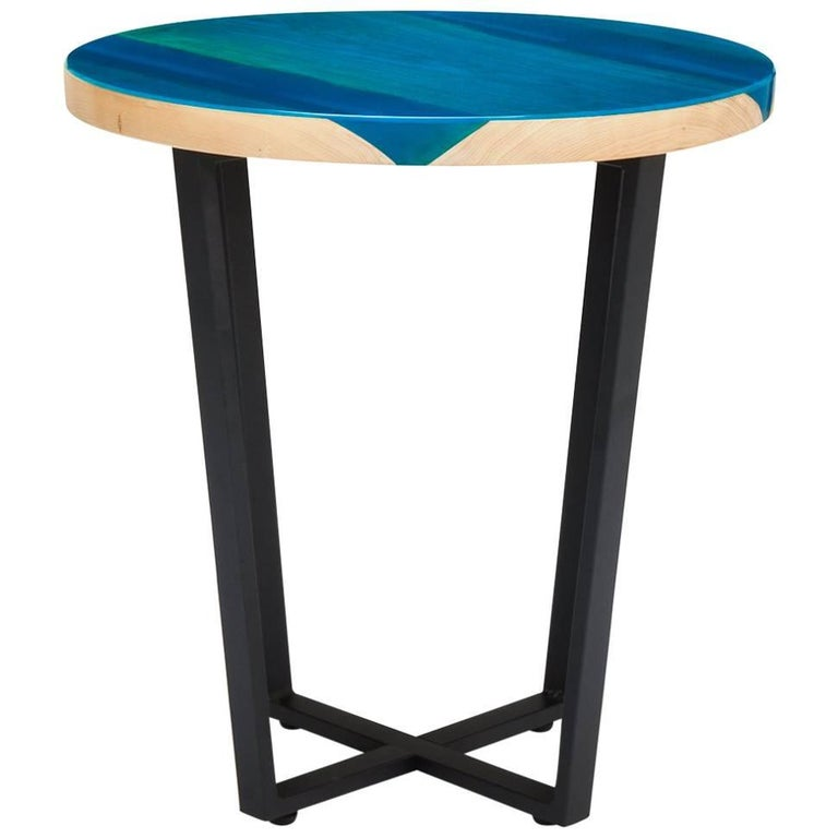 Contemporary Side Table Ash Glazed with Blue Resin on Powder Coated Steel Base