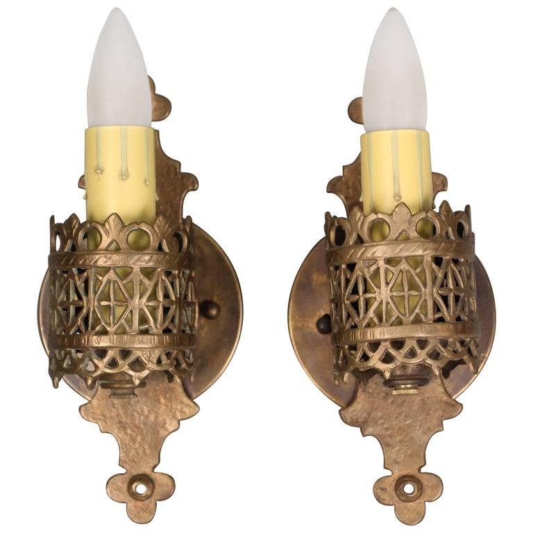 Antique Pair of Signed Oscar Bach Bronze Single Light Sconces, circa 1920s For Sale