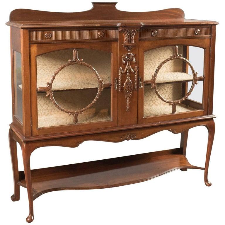 Antique Glazed Display Cabinet, English, Walnut, Edwardian, circa 1910