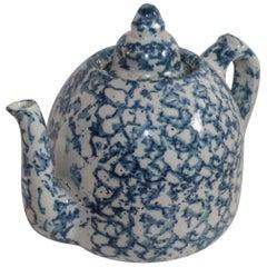 19th Century Sponge Ware Teapot with Lid, Very Rare