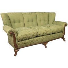 Antique Sofa, English Green Edwardian Three-Seat Settee, circa 1910