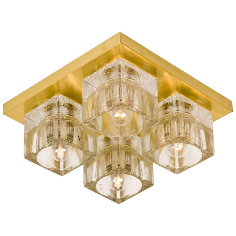 Peill & Putzler Wall Light Ceiling Light, Brass and Glass, Germany, 1970 For Sale