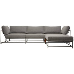 Grey Wool and Blackened Steel Lounge Sectional