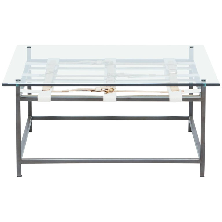 Glass Coffee Table with Blackened Steel Frame & Belts