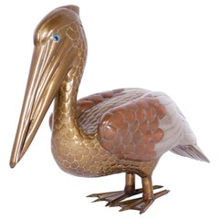 Midcentury Brass and Copper Pelican Sculpture
