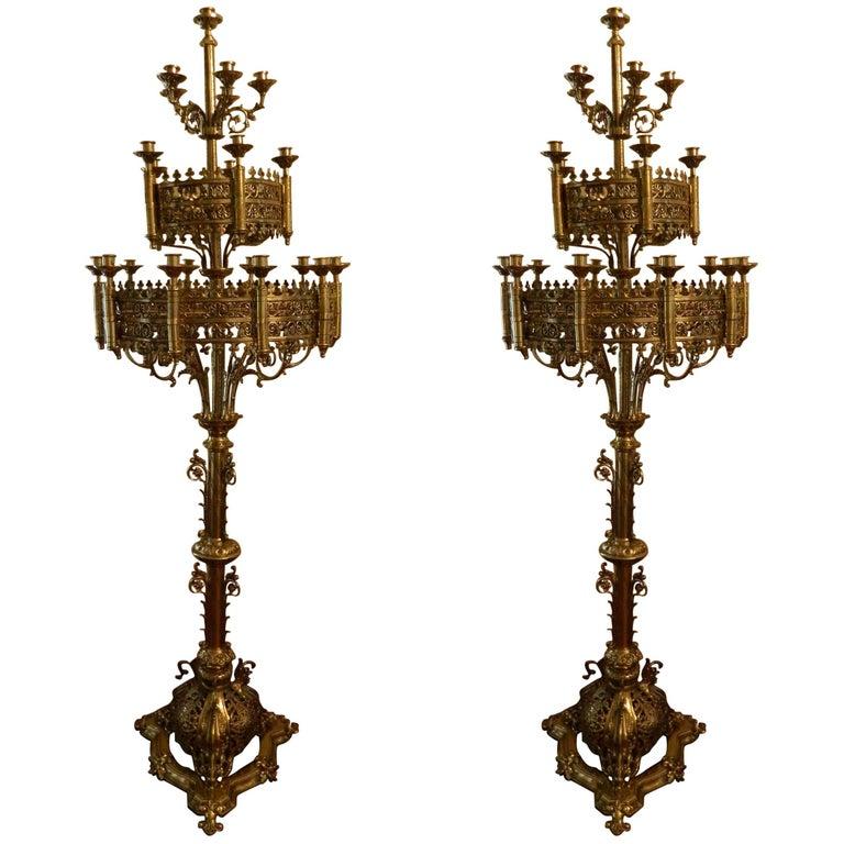 Pair of Large Floor Standing Brass Candelabras, circa 1860
