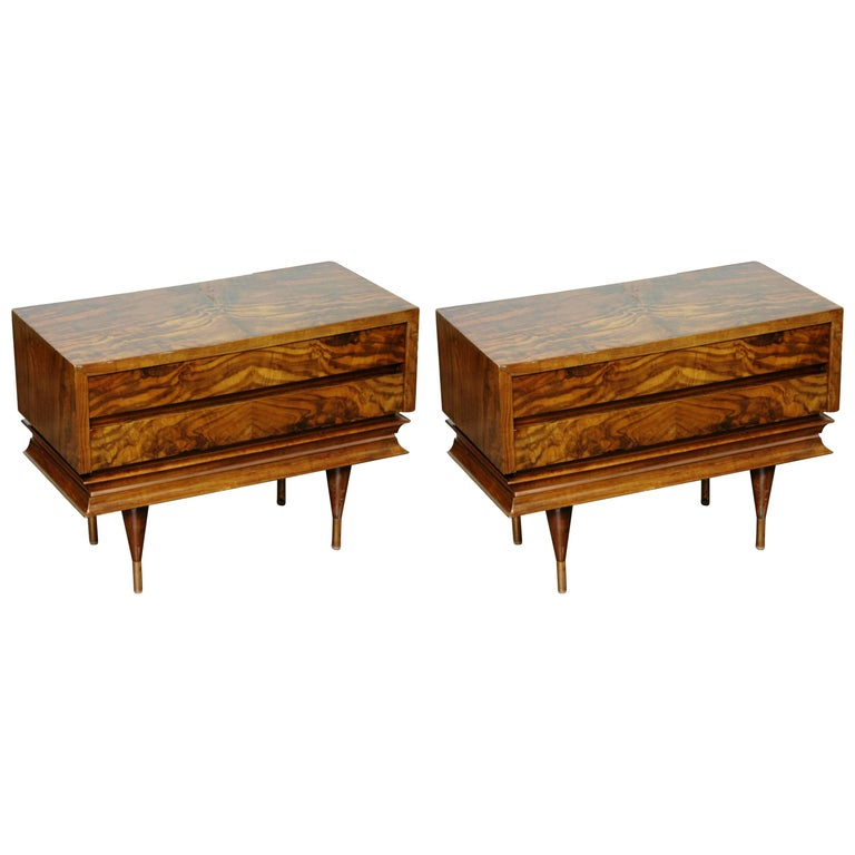 Pair of Gio Ponti Style Low Chest End Tables