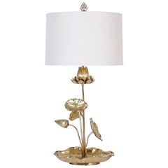 Tropical Brass Lotus Flower Table Lamp