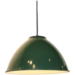 Vintage French Enamel Finish Shop Light