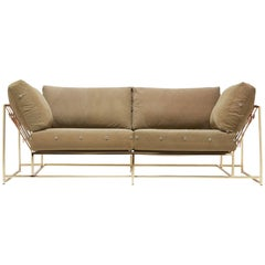 Vintage Military Canvas and Polished Brass Two-Seat Sofa