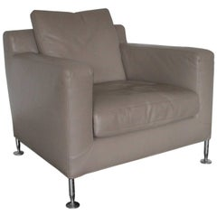 "B&B Italia ""Harry H85"" Armchair in Pristine Pale Grey ""Gamma"" Leather"