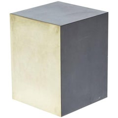 Tarnished Brass and Blackened Steel Block Side Table