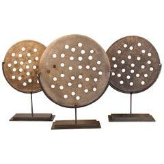 Antique Terracotta Baking Disc on Museum Mount
