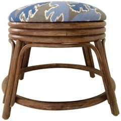 Vintage Ficks Reed Style Rattan Reed and Linen Ikat Stool